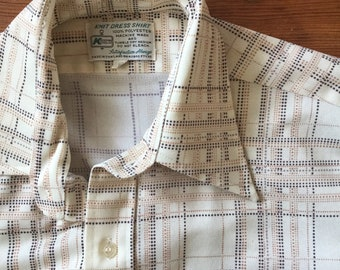 39916d083dba71 SALE Vintage Old Mans polyester button down shirt from Kmart