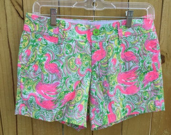 Retro flamingo print Lilly Pulitzer callahan shorts