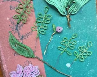 Vintage Handmade glass beaded flowers and leaves