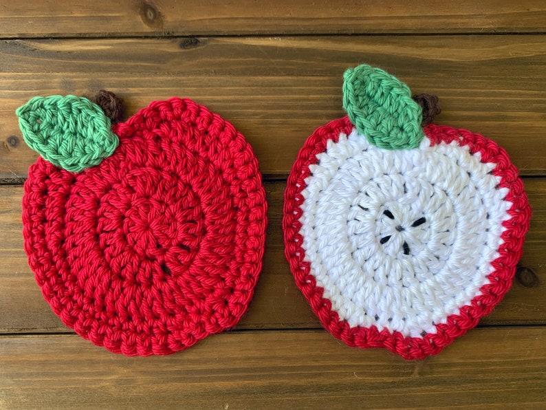 Crochet Apple Coasters image 1