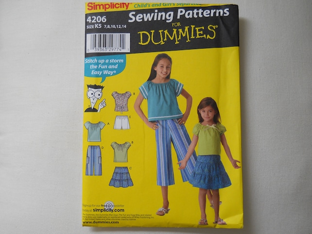 Simplicity 4206 Sewing For Dummies Pattern Girls Skirt Top Etsy