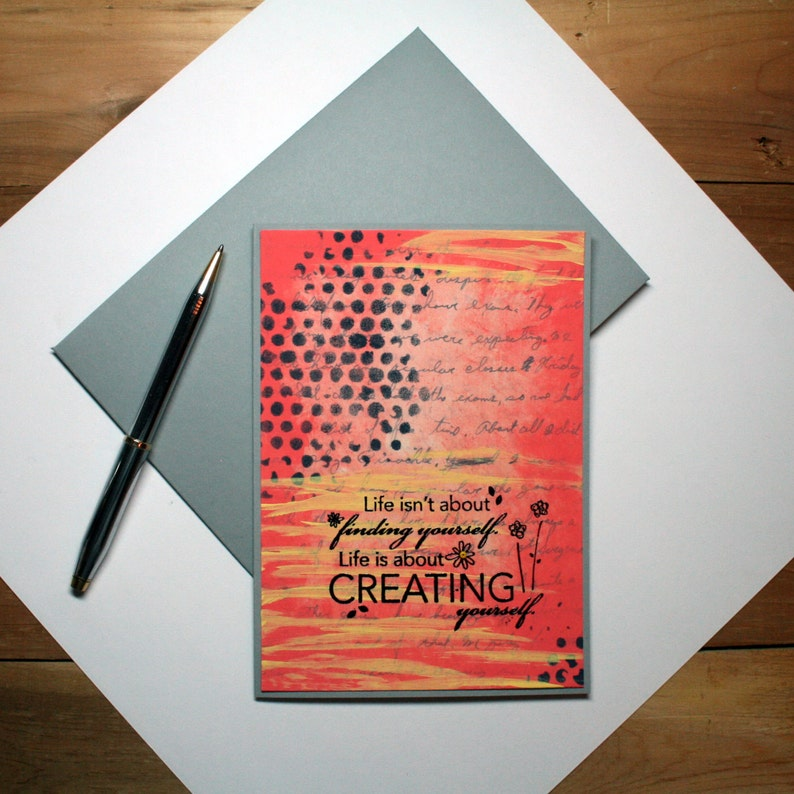 CREATING YOURSELF Mixed Media Blank Handmade Card and Envelope image 0