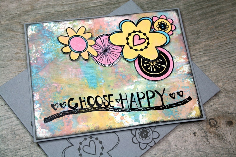 CHOOSE HAPPY Mixed Media Blank Handmade Card and Matching image 0