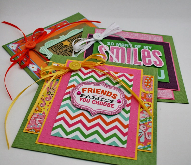 FRIENDSHIP CARDS Blank 3 Card Set with Matching Envelopes image 0