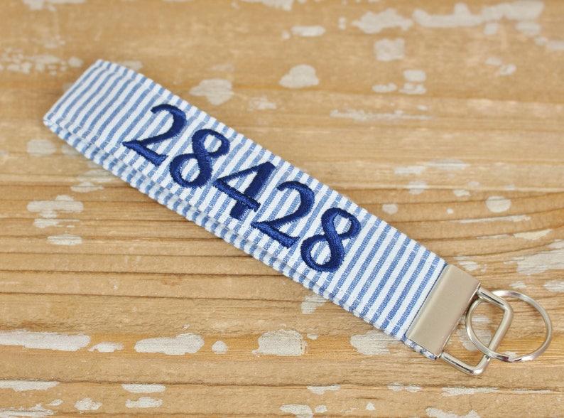 Zip Code Seersucker Wristlet Key Fob in Choice of Colors  image 0