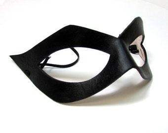 Superhero Mask / Ms Marvel / Harley Quinn / Leather Mask / Handmade/ Cosplay Mask/ Shiny Black Mask/ Cat Eye/ Costume Mask / Adjustable Cord