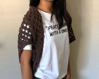100% handmade Crochet Shrug - Brown (ready to ship)