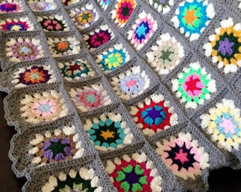 Granny Square Crochet Blanket - Grey Edges (made to order)