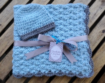 Crochet Baby Blanket with Matching Hat - Soft Blue