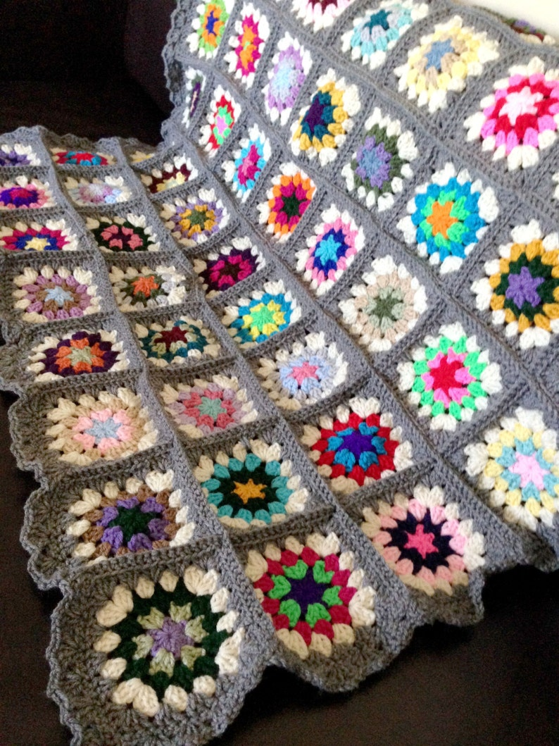 Granny Square Crochet Blanket Grey Edges Etsy