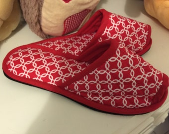 Bedroom Slippers,spa shoes, Indoor Shoes, House Slippers, Medallion Red Cotton Canvas shoes, Eco Friendly