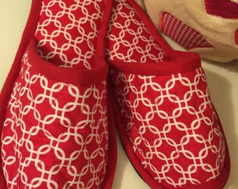 Bedroom/House Slippers,Spa shoes, Indoor Shoes,  Red Cotton Canvas shoes