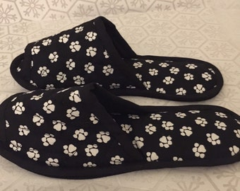 Bedroom Slippers, Spa slippers, Indoor Shoes, House Slippers,  Cotton paw print, chevron, striped, bicycle, DOTTED