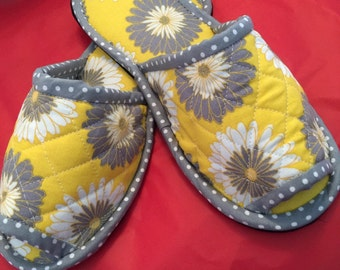 Bedroom Slippers, Spa slippers, Indoor Shoes, House Slippers, flower gold and gray white Cotton Canvas shoes, Eco Friendly
