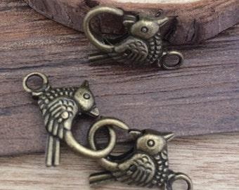 pájaro del Metal broche para joyería de color 20pcs 21mmx11mm bronce