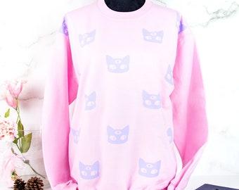 pink pastel goth oversize cute and comfy winter sweater -  funny kawaii larme sweatshirt 3 eyed alien cat fairy kei jumper