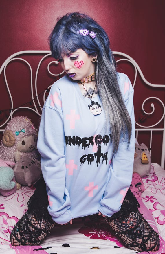 pastel goth cute oversize baggy sweater creepy cute kawaii fairy kei winter jumper pastel halloween gothic cross aesthetic soft grunge
