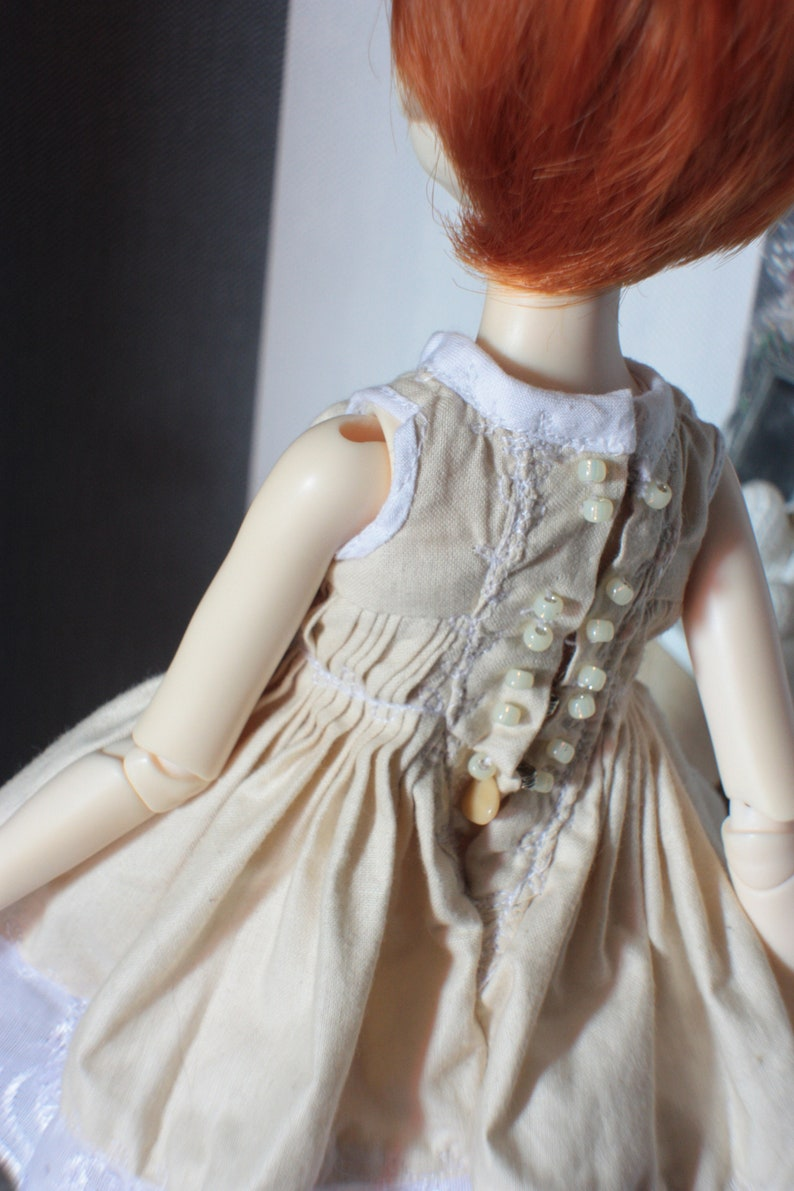 Beige ruffles dress for slim MSD