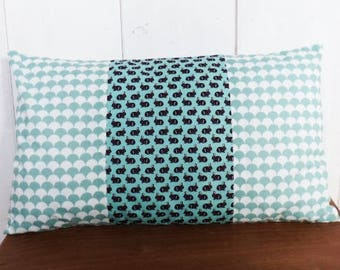 Cushion cover 50 x 30 cm patchwork fabric Mint green scales and Scandinavian design rabbits