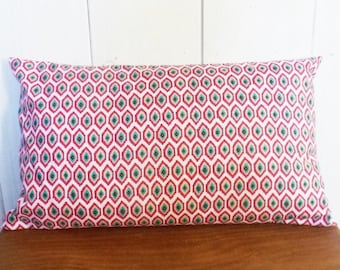 Cushion 50 x 30 cm fabric red, turquoise and yellow style IKAT