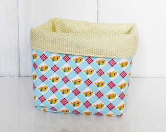 Yellow pouch /panier storage fabrics vintage red, yellow, blue birds and Zig - zag patterns