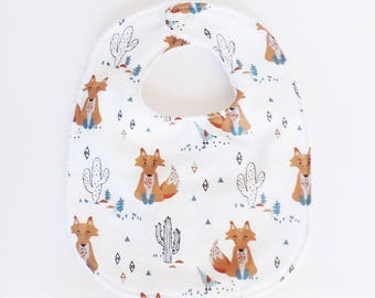 0-6 months baby bib pattern FOXES, cactus and white towel
