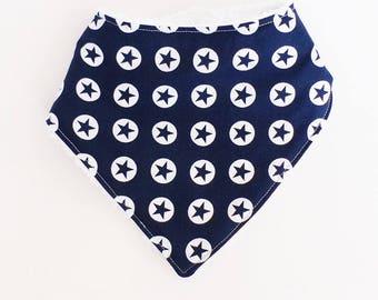 6-12 months baby BANDANA bib Navy and white stars and white towel