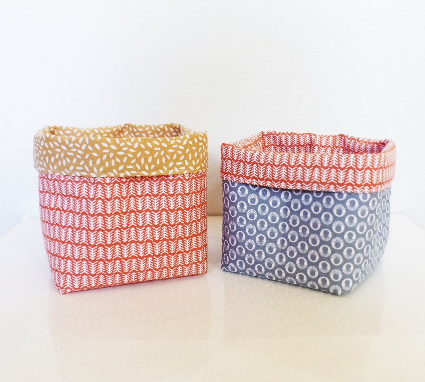 Exceptionnel 2 Small Decorative Storage Baskets / Plant Pot   13 Cm X 12 Cm   Fabric  Grey / Mustard / Coral   Japanese Fabric   Pouch   Organizer