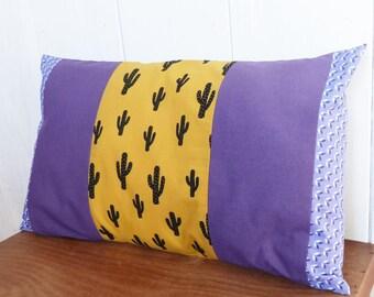 Cover cushion 50 x 30 cm patterns CACTUS mustard and purple geometric and plain fabrics