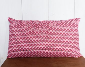 Cushion cover 50 x 30 cm Japanese scales red patterned fabric