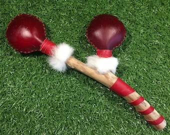 Shaman Large Dyed Deer Rawhide Double Rattle - Shamanic - Native American Inspired - Pagan (Dbl2)