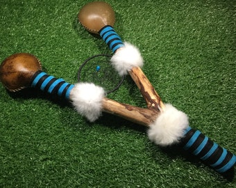 Shaman XXL Horse and Red Deer Rawhide Double Rattle - Dream Catcher - Shamanic - Pagan - Native American Inspired (2)