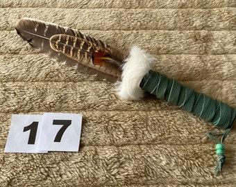 Smudge Feather Wand Barred Turkey + Pheasant - Shaman - Pagan - Lge Handle (17)