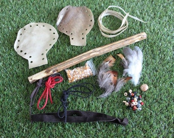 Shaman/Pagan/Native American Red Deer Holes Punched in Rawhide Rattle Kit - Craft Your own Rattle.