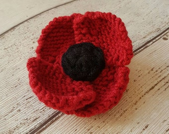 Red Poppy brooch, Red Flower Pin, Remembrance Day Brooch