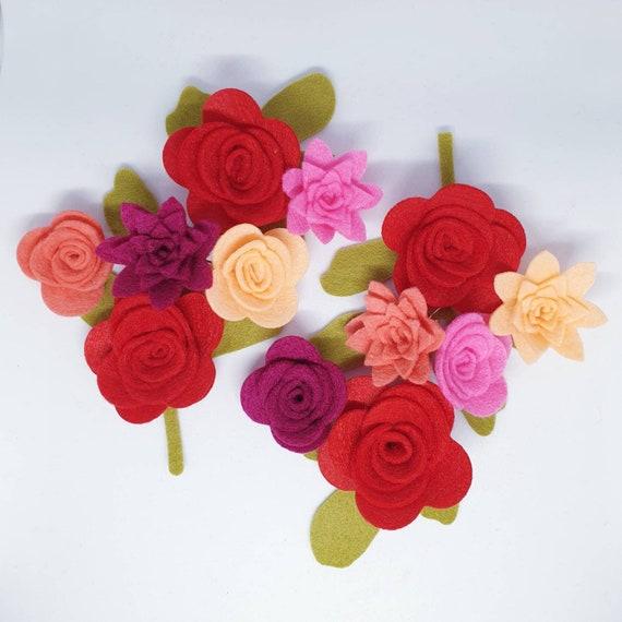 3D Roll Up Flowers Red /& Pink Felt Flower Kit Die Cut Felt Flowers