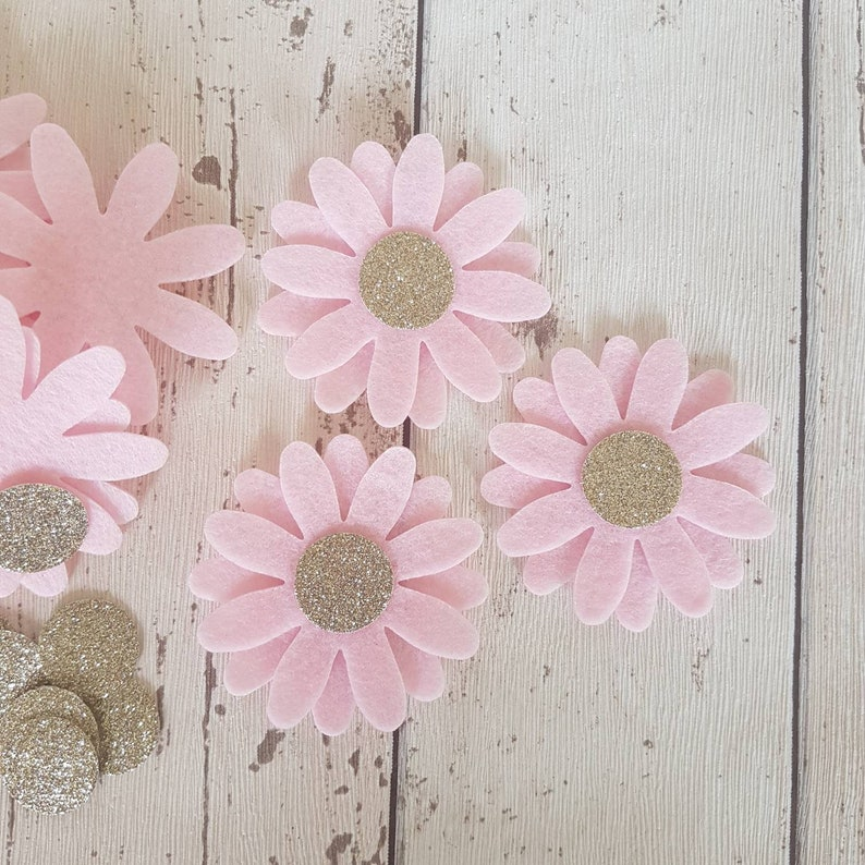 Pink Daisy Flowers LARGE Die cut felt daisies champagne image 0