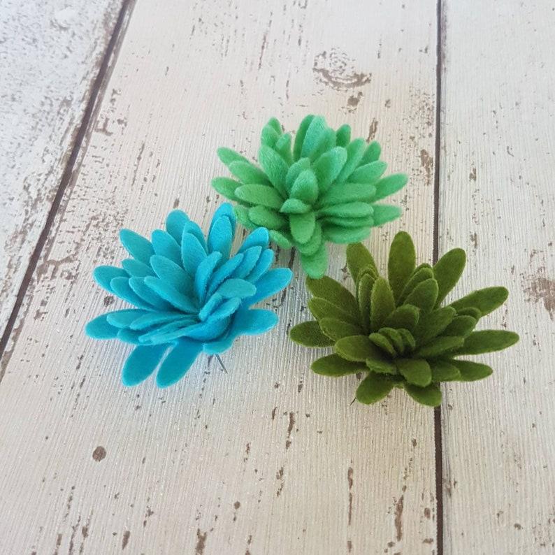 Green & Blue Felt Succulents Chrysanthemum Flowers Felt image 0