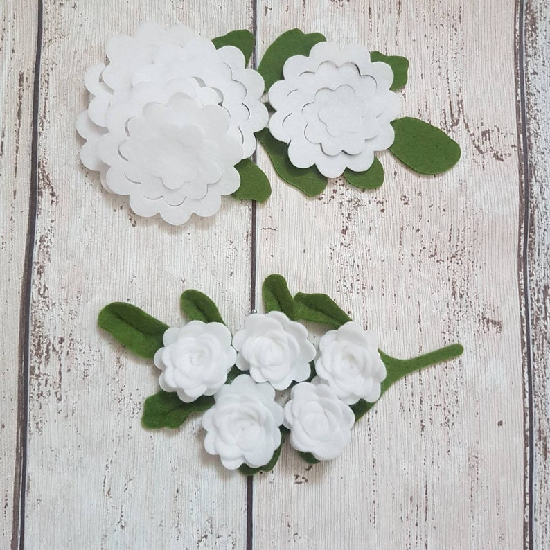 White Felt Die Cut Roses Medium Size 10 Optional Leaves image 0
