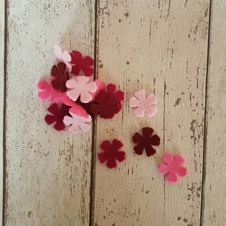 Pink felt Flowers die cut felt table confetti felt image 0