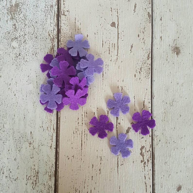 Lilac felt flowers Purple felt flowers die cut felt felt image 0