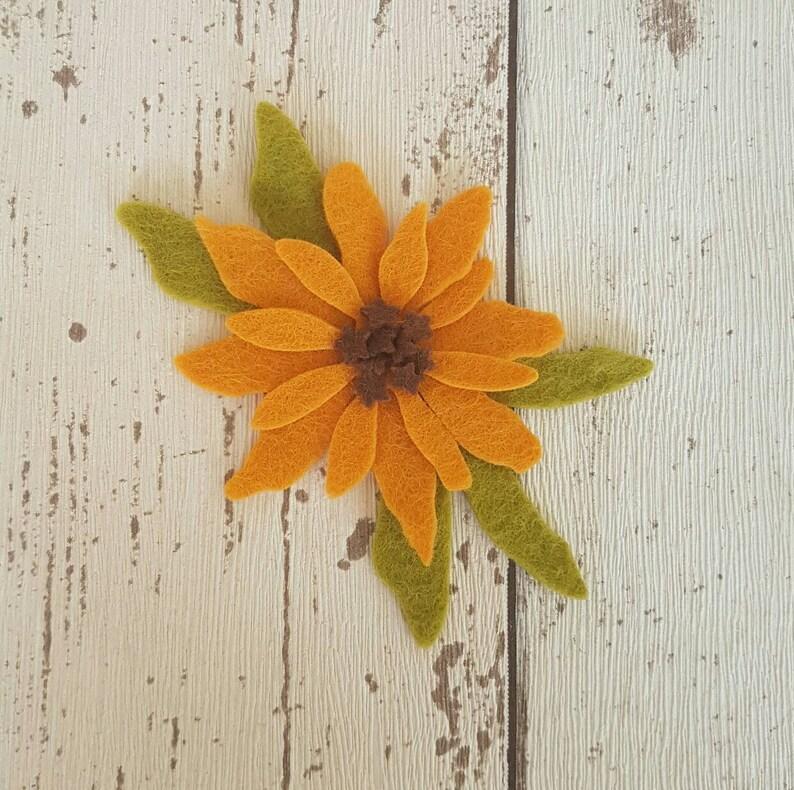 Felt Black Eyed Susan flowers die cut for craft and image 0