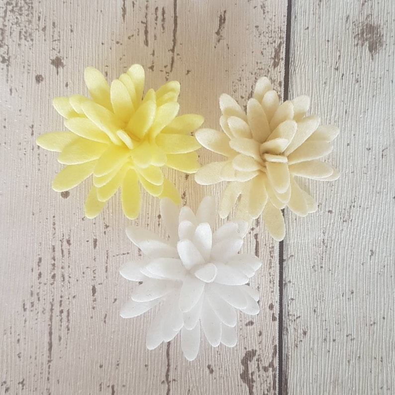 Lemon Felt Chrysanthemums Chrysanthemum Flowers Die Cut Felt image 0