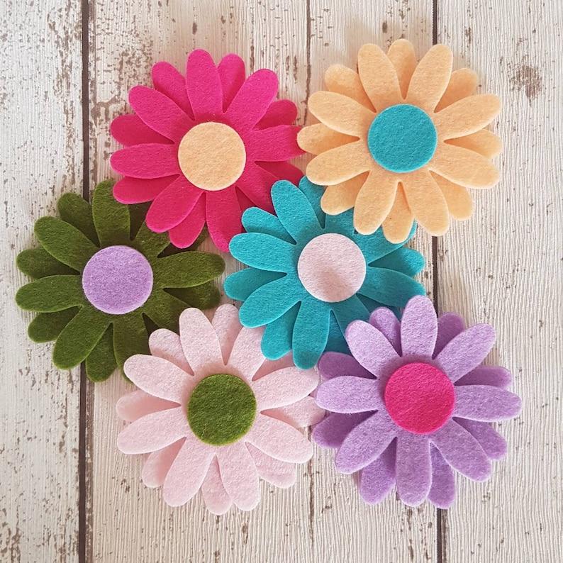Multicoloured Felt Daisy Flowers LARGE Die cut felt daisies image 0