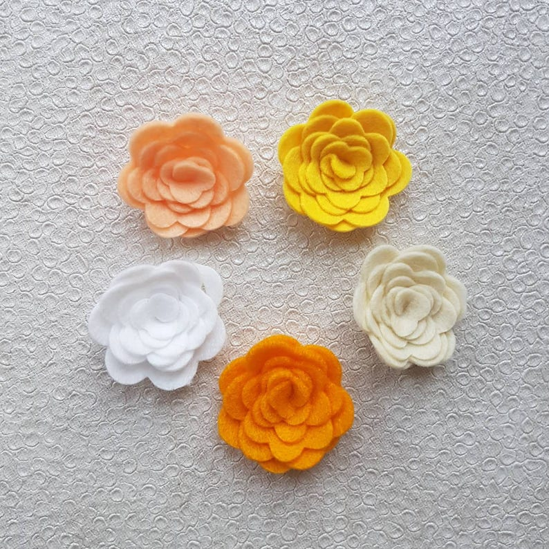 Spring Felt Roses10  die cut felt flowers 3D Roll Up image 0
