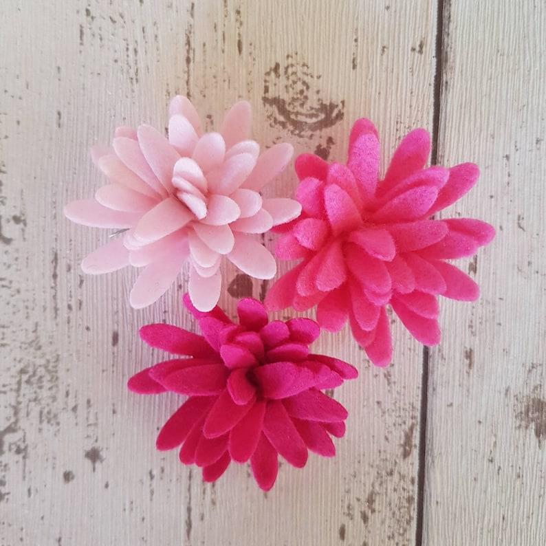 Pink Felt Chrysanthemums Chrysanthemum Flowers Die Cut Felt image 0