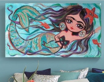 Mexican Art Print 30% off Mermaid Cat Print, Canvas Gallery Wrap, Mexican Folk Art, Poster, Painting,  Wall Art