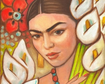 Mexican Art Print Canvas Wrap Mexican Folk Art Frida Large Painting Diego Rivera Decor wall poster