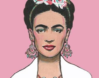 Mexican Art  Print Canvas Wrap  or Original Painting Mexican Folk Art  pink Aqua Blue Teal Frida Painting Pink Home Decor
