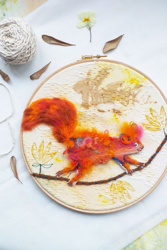 Handmade/Mixed media/Forest Squirrel/ Original Art Piece by Jo Rose
